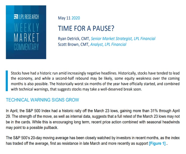Time For A Pause?   Weekly Market Commentary   May 11, 2020