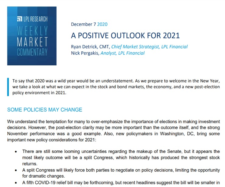 A Positive Outlook for 2021   Weekly Market Commentary   December 7, 2020