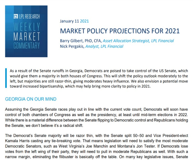 Market Policy Projections for 2021 | Weekly Market Commentary | January 11, 2021