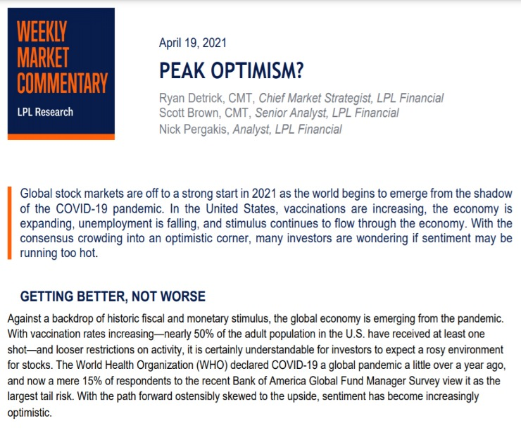 Peak Optimism? | Weekly Market Commentary | April 19, 2021