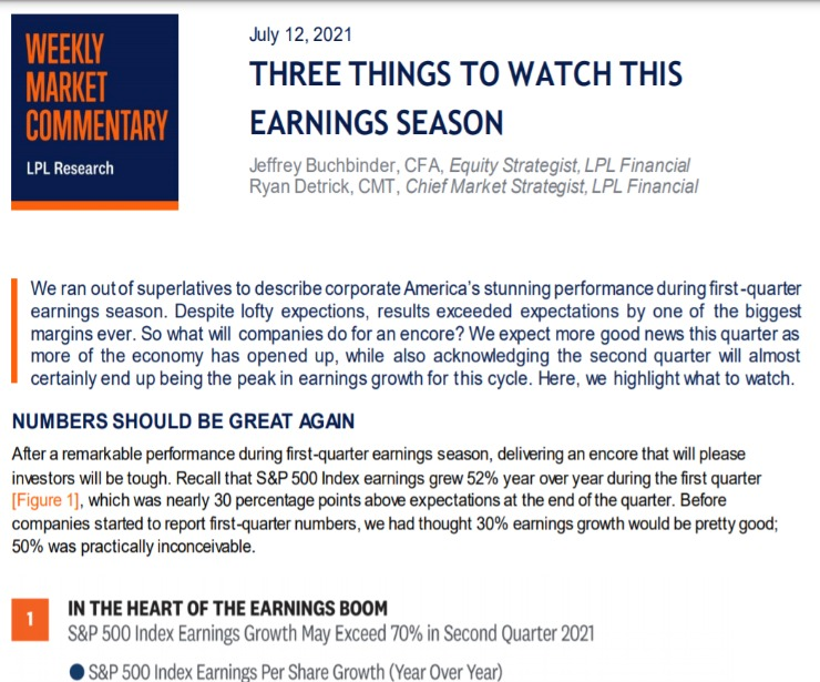 Three Things to Watch This Earnings Season | Weekly Market Commentary | July 12, 2021